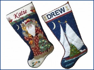 needlepoint holiday stockings