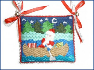 needlepoint holiday pillow